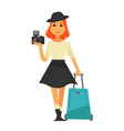 young isolated woman holding camera and travelling vector image vector image