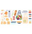 zero waste reusable plastic free and eco vector image vector image