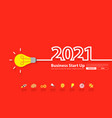 2021 new year with creative light bulb idea vector image vector image
