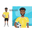 black african american football character soccer vector image vector image