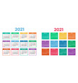 calendar for 2021 on white background vector image vector image