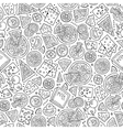 Cartoon cute hand drawn Pizza seamless pattern vector image vector image
