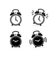 cartoon silhouette black alarm clock set vector image