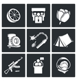 Color revolutions and coup Icons Set vector image