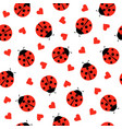 cute ladybug and hearts seamless pattern vector image vector image
