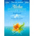 Day beach poster for hawaiian party with hibiscus vector image