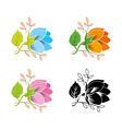 decorative flower set vector image vector image