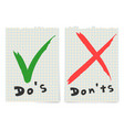 do and dont check tick mark and red cross checkbox vector image