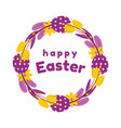easter wreath of painted eggs flowers tulips vector image