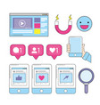 emoji and social media with smartphone website vector image