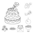 Event organisation outline icons in set collection