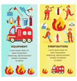 firefighting and equipment concept banner vector image vector image