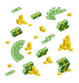 flat cash money pile golden coins vector image vector image
