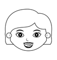 front face girl silhouette with hair short vector image