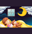 girl sleeping at nighttime vector image vector image
