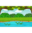 green pond nature scene vector image