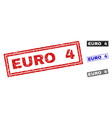 grunge euro 4 textured rectangle stamp seals vector image vector image