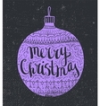 hand drawn Christmas card Lilac decorated vector image vector image