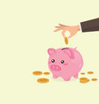 hand putting coin a piggy bank vector image vector image