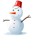 happy snowman with red bucket on head vector image