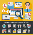 internet marketing icons collection vector image