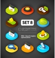 Isometric flat icons set 8 vector image vector image