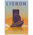 lisbon vintage poster vector image vector image