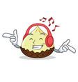 listening music snake fruit mascot cartoon vector image
