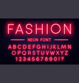 neon alphabet with numbers red style font vector image