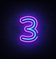 number three symbol neon sign third vector image