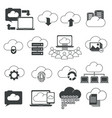 online space storage cloud isolated outline icons vector image