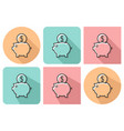 outlined icon of piggy bank with parallel vector image vector image