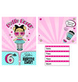 pink template invitation card for little vector image