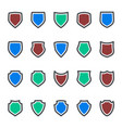 protection icons shield collection silhouette vector image vector image
