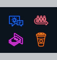 queue idea lamp and atm money icons takeaway vector image vector image
