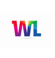 rainbow colored alphabet combination letter wl w vector image
