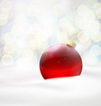 red ball lying in the snow vector image vector image