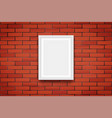 red brick wall with picture frame vector image