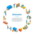 relocation service 3d banner card circle isometric vector image vector image