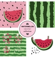 Seamless pattern with watermelons and dots vector image vector image