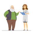 senior man talking with a doctor - flat design vector image