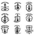 set hookah bar emblems for logolabel sign badge vector image vector image