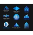 set of 3d blue office buildings houses vector image vector image