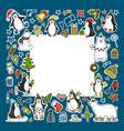 set of colored christmas icons vector image