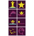 set of sea simple icons vector image vector image