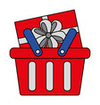shopping online basket and gift box vector image vector image