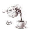 sketch of fresh brewed hot and vector image vector image