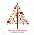 stylized design christmas tree with xmas toys vector image