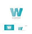 w blue letter alphabet logo icon design vector image vector image