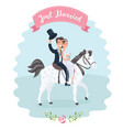 wedding couple on white horse vector image vector image